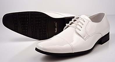 Delli Aldo Fashion Oxfords Men's Dress Shoes Tuxedo Cap Toe Patent Shiny White (7)