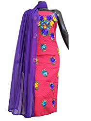 Cotton Champa Work Kurta Dupatta Set-Pink&Purple 1