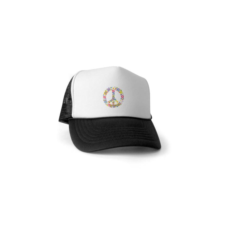 Artsmith, Inc. Trucker Hat (Baseball Cap) Floral Peace Symbol