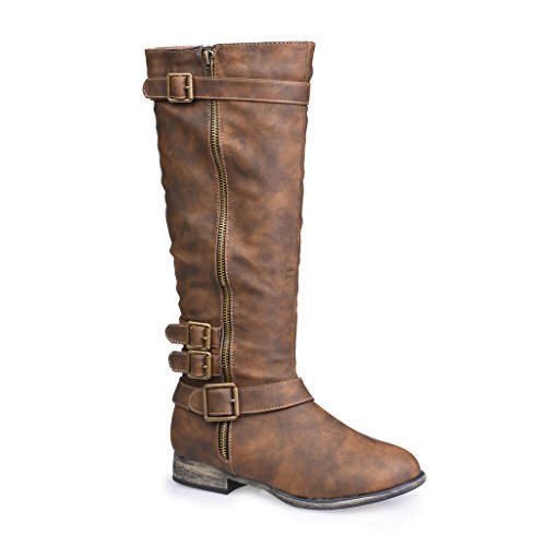 twisted-womens-noah-knee-high-faux-leather-boots-with-buckle-straps-dark-taupe-size-11