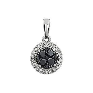 14kt White 3/8 CTW Diamond Black & White Halo Pendant