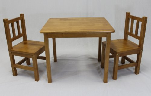 Kids Table And 2 Chairs Set Solid Hard Wood In Honey Oak
