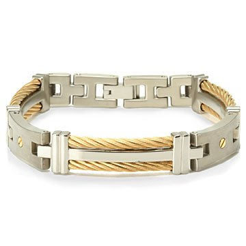 Mens Titanium Golden Cable Link Bracelet