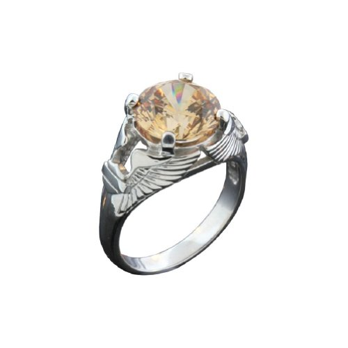 Harley-Davidson® Stamper® Women's Sterling Silver and Platinum Eagle Wing Champagne Color Stone Ring. PR7493CCZ