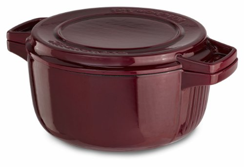 KitchenAid KCPI40CRRR Professional Cast Iron 4-Quart Casserole Cookware - Royal Red (Kitchenaid Professional Cookware compare prices)