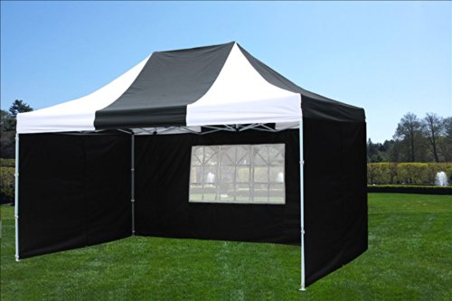 10'x15' Pop up 4 Wall Canopy Party Tent Gazebo Set Ez Black/White - E Model By DELTA Canopies picture