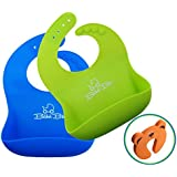 Soft Silicone Baby Bibs - Easy Roll-Up, Waterproof, Cleans & Dries Fast - Comfortable For Toddlers Boys & Girls - Wide Food Catcher Pocket - FREE Bonus - With - 2Pack GREEN & BLUE