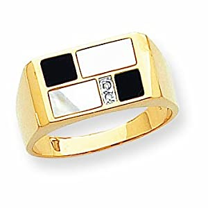 14K Onyx Mother of Pearl and Diamond Men's Ring
