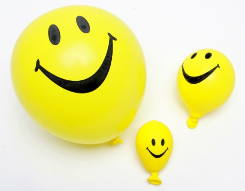 Funsational Set of 8 12-Inch Helium-Quality Smiley Face Balloons