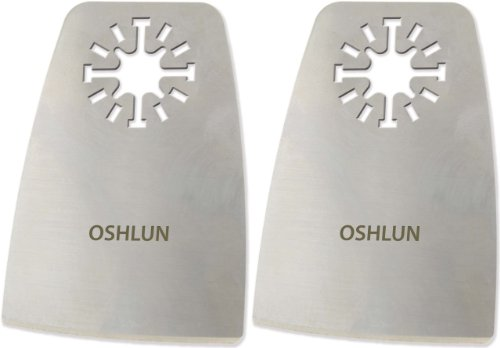Oshlun MMA-5002 2-Inch Oscillating Tool Flexible Scraper with Uni-Fit Arbor for Fein Multimaster, Dremel, and Bosch, 2-Pack