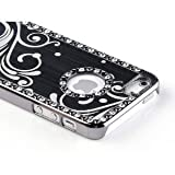 Pandamimi iphone 5 case - Deluxe Black Bling Diamond Rhinestone Aluminum Chrome Hard Case Cover for Apple iPhone 5 5G + Screen Protector