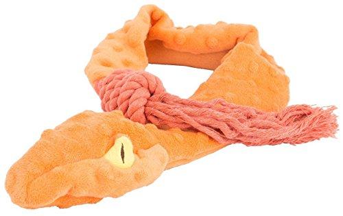 EXPAWLORER-Tough-Plush-Dog-Toys-3-Squeaker-Pet-Toy-34-long-Orange-Snake