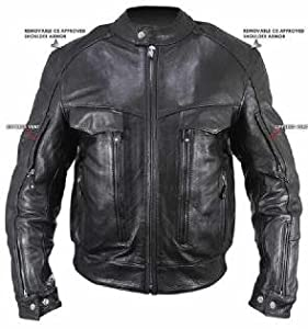 Men's Bandit Buffalo Leather Cruiser Motorcycle Jacket with Level-3 Armor Sz 3XL