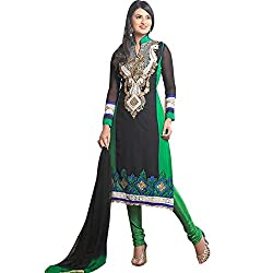 Shayona Women's Georgette Semi Stitched Dress Material_SSE902S2RK_Green_Free Size