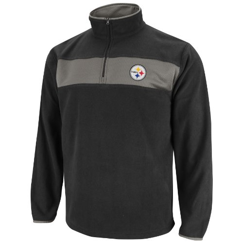 NFL Mens Pittsburgh Steelers Fade Route III Long Sleeve 1/4 Zip Micro Chiller (Black/Storm Gray, Large)
