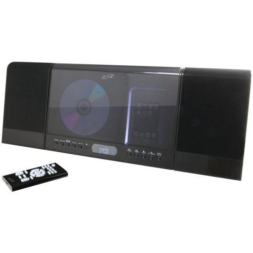 iLive CD and Radio Home Music System with Docking and Recharging Station for iPod (Black)