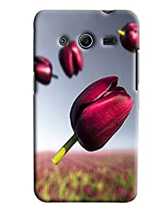 Blue Throat Pink Flower With Its Garden Printed Designer Back Cover/Case For Samsung Galaxy Core 2