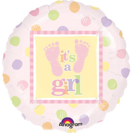 Baby Steps Balloons Girl Shower Footprints - 1