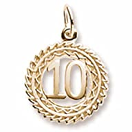 10k Yellow Gold Number 10 Charm, Char…