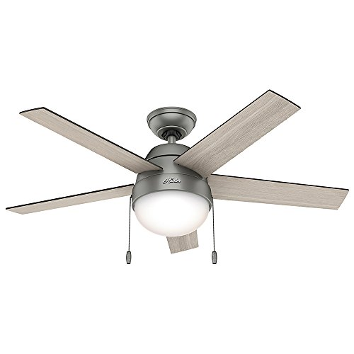Hunter Fan Company 59267 Contemporary Anslee Matte Silver Ceiling Fan With Light, 46