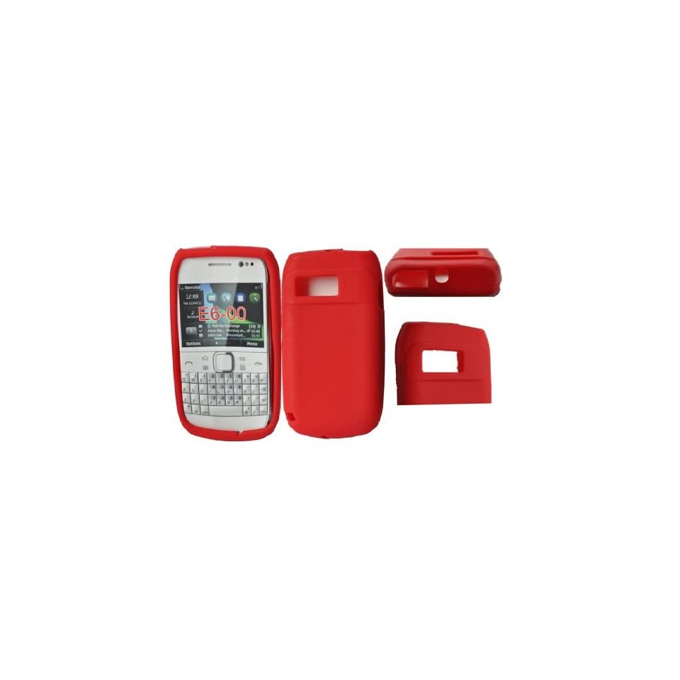 Palace  Red silicone skin case cover pouch for Nokia E6 Electronics