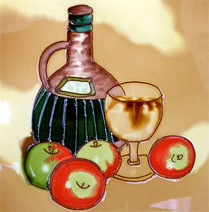 Wine Bottle Fruit Decorative Wall Art Ceramic Tile 4x4