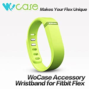WoCase Replacement Accessory Wristband Volt Green/Neon Green (Large) with Clasp for Fitbit Flex Activity and Sleep Tracker