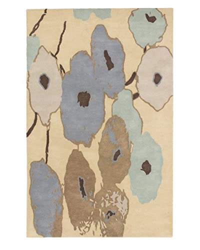 Handmade Abstract Art Wool Rug, Khaki, 5' x 8'