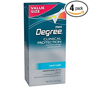 Degree Male Clinical Protection Anti-perspirant & Deodorant, Cool Rush, 2.7-ounce Value Size (Pack of 4) $4.99