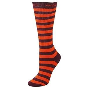 NCAA Virginia Tech Hokies Ladies Maroon-Orange Striped Tall Socks