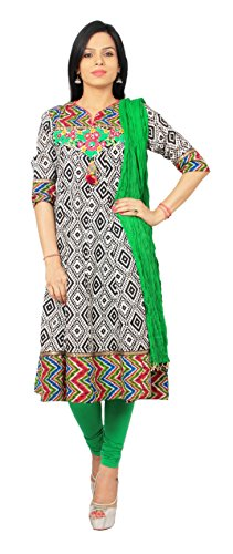 Rama Suit Set Of Black White Color Emblished - Printed Cotton Anarkali Kurti With Legging And Duppatta