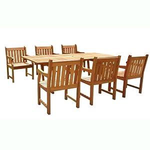 Amazon.com: VIFAH V232SET1 English Garden 7-Piece Dining Set with ...
