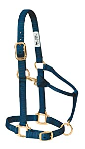 Weaver Leather Original Adjustable Chin and Throat Snap Halter, Navy, Small Horse Size