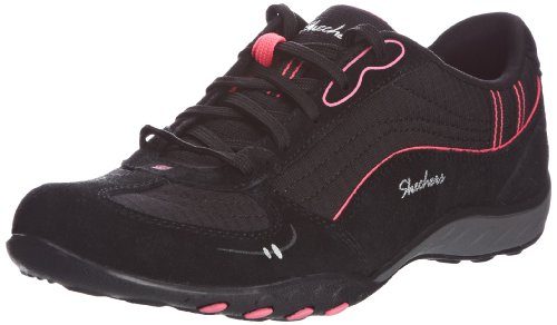 Skechers Sport Women's Just Relax Fashion Sneaker, Black Suede/Mesh/Hot Pink, 7 M US