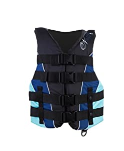 O'Neill Wetsuits Women's Superlite USCGA Vest  (Black/Navy/Turquoise, Small)