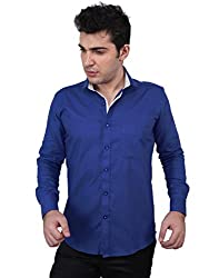 Zeal 100% Cotton Royal Blue-White Casual-Formal Shirt