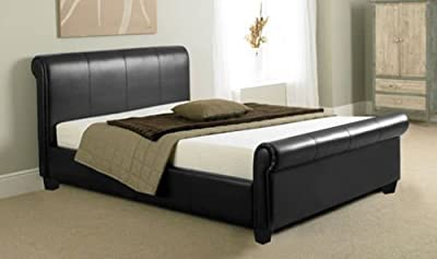 New 4FT6 Double Or 5FT King Faux Leather Bed and Memory Foam Mattress/Spring Mattress