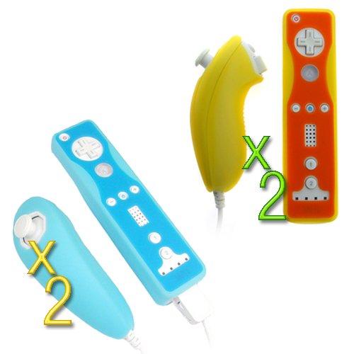 GTMax 2x Silicone Skin Case - Blue 2 Tone + 2x Silicone Skin Case - Orange 2 Tone For Nintendo Wii Remote Controller & Nunchuk