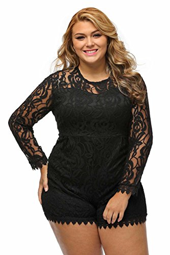 Roswear Women's Plus Size Round Neck Long Sleeve Lace Romper Dress Black XXXX-Large