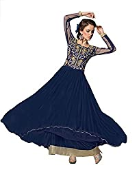 Blissta Royal Blue long net Unstitched partywear gown