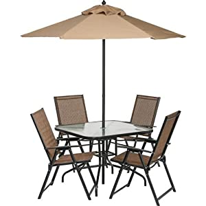 6 piece outdoor folding patio set with table 4 chairs umbrella and built in. Black Bedroom Furniture Sets. Home Design Ideas
