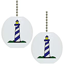 Set of 2 Blue Lighthouse Ceramic Fan Pulls