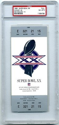 01/26/1986 Super Bowl Xx Full Game Ticket Patriots (New England) Graded: Psa 8 - Loge - Silver - Versus Bears