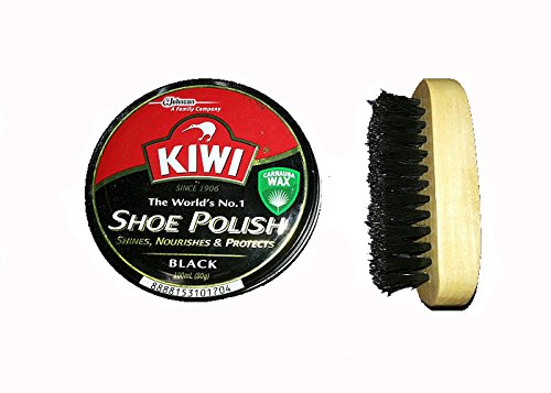 KIWI SHOE CARE SHINES NOURISHES PROTECTS SHOE BOOT WAX TINS 100ml - Black with BRUSH (Phosphorescent Shoes compare prices)