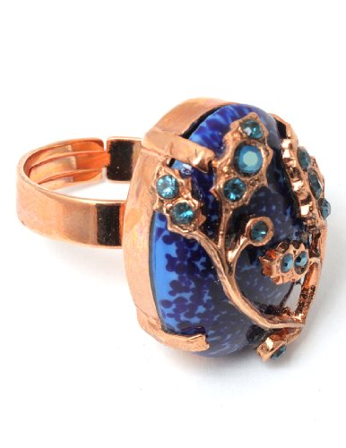 Amaro Jewelry Studio 'Third Eye Chakra' Collection 24K Rose Gold Plated Oval Shaped Adjustable Ring with Leaf Ornaments, Lapis Lazuli and Swarovski Crystals