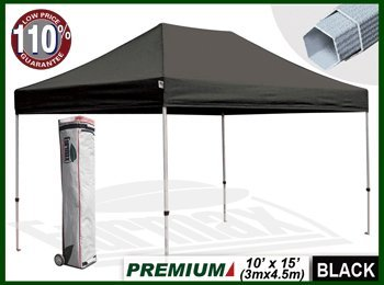 New Eurmax 10X15 Ft Premium Ez Pop Up Canopy Instant Shelter Outdoor Party Tent Gazebo Commercial Grade Bonus Roller Bag (Black) front-885830