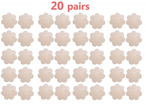 20 Pairs Womens Pasties Nipple Cover Stain Breast Petal Disposable Flower Shape
