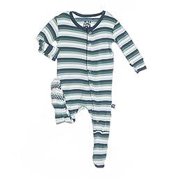 KicKee Pants Baby Boys\'  Footie  - Boy Dino Stripe - 0-3 Months