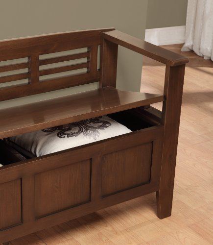 Simpli Home Adams Entryway Storage Bench Medium Rustic Brown Rustic Touch Rustic Decor And