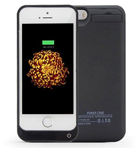 DUTISON iPhone5/5S/SE バッテリー内臓ケース 大容量4200mAh 急速充電 スタンド機能 USBケープルで2台同時充電可能 (ブラック)